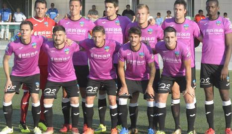 Formació inicial amb què el Lleida va jugar dissabte passat la Copa Catalunya a Ascó.
