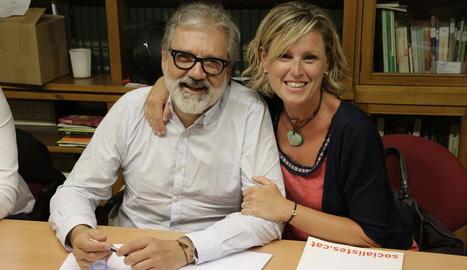 Larrosa y Mínguez, en una reciente reunión de la ejecutiva del PSC.