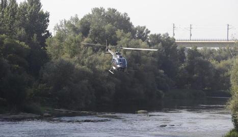 L'helicòpter fumigant ahir el riu a prop de Lleida ciutat.