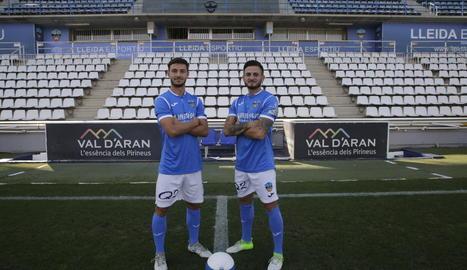 Fernando Cano i José Artiles, ahir al Camp d'Esports.