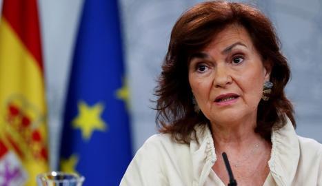 Carmen Calvo, a la roda de premsa després del Consell de Ministres.