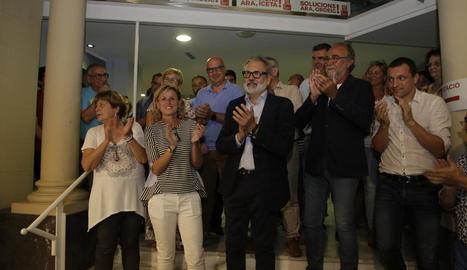 Larrosa, a la seu del PSC ahir just després de conèixer el resultat de l'escrutini de les primàries.