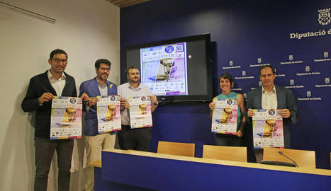 Joan Segura, Albert Batalla, Gerard Sabarich, Marta Martínez i Francesc Ganyet, ahir a la Diputació.
