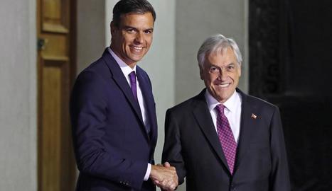 Pedro Sánchez en la visita a Sebastián Piñera, a Santiago de Xile.