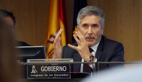 Fernando Grande-Marlaska va comparèixer a petició pròpia davant de la Comissió del Congrés.