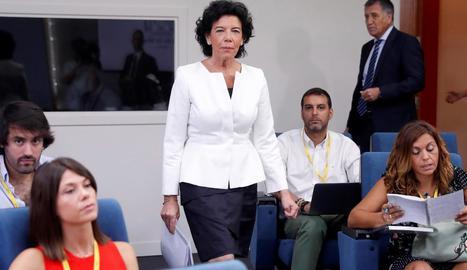 Isabel Celaá, a la roda de premsa després del Consell de Ministres.