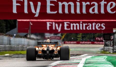 Fernando Alonso, ahir durant la qualificació al circuit de Monza.