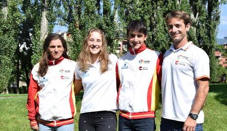 Maialen Chourraut, Núria Vilarrubla, Miquel Travé i Guillermo Díez-Canedo, ahir al Parc del Segre.