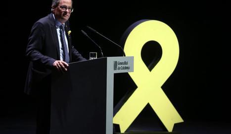 El president, Quim Torra, ahir, al Teatre Nacional durant la conferència 'El nostre moment'.