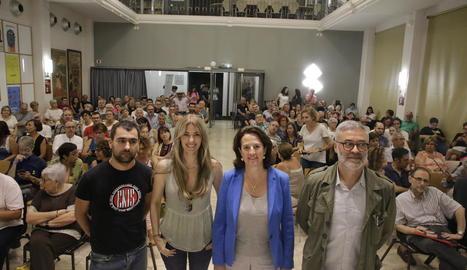 Joan Teran, Anna Arqué, Elisenda Paluzie i Carles Riera, al debat que va convocar Endavant.