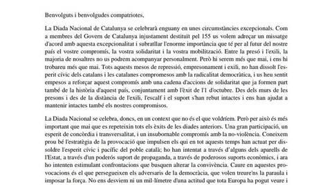 Carta de Puigdemont i el seu Govern