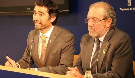 El conseller de Polítiques Digitals i Administració Pública, Jordi Puigneró, i el president de la Diputació de Lleida, Joan Reñé.