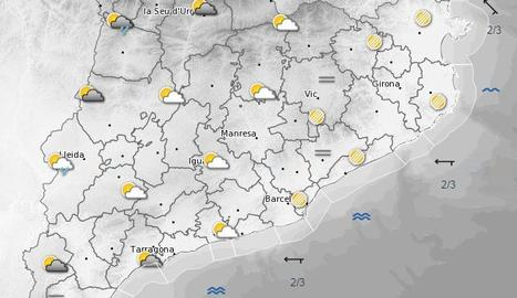 Mapa de la previsió meteorològica per al diumenge.