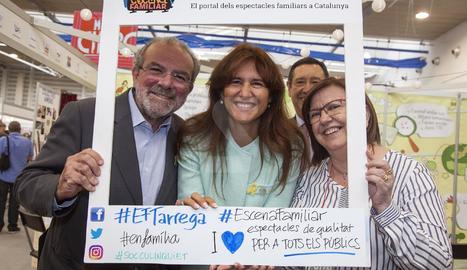 Joan Reñé, Laura Borràs, Rosa Maria Perelló y Ramon Farré, ayer en la inauguración de FiraTàrrega.