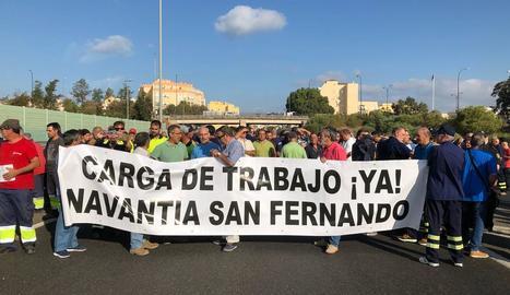 Empleats de Navantia manifestant-se.