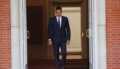 El president del Govern central, Pedro Sánchez, aquest dijous a la Moncloa.