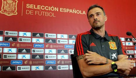 Luis Enrique, durant la roda de premsa prèvia al partit.