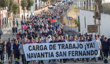 Treballadors de Navantia manifestant-se ahir a Cadis.