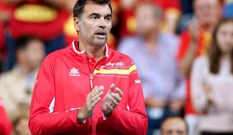 El capità Sergi Bruguera ahir animant l'equip.