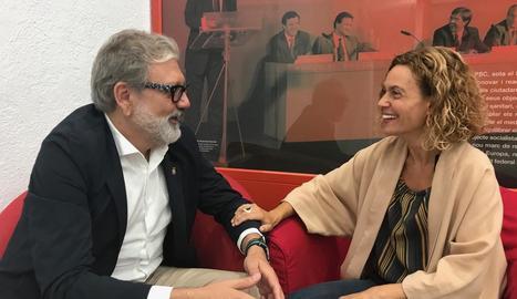 Un instant de la reunió de Larrosa amb Batet d'ahir.