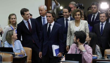 Aznar arriba a la Comissió d'Investigació sobre el suposat finançament irregular del PP