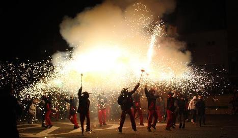 Un moment del correfoc de les festes de Bellpuig, celebrades el cap de setmana passat.