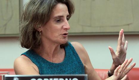 La ministra per a la Transició Ecològica, Teresa Ribera, durant la compareixença d'ahir.