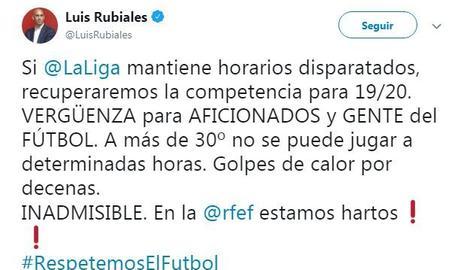 Rubiales esclata contra La Liga pels horaris