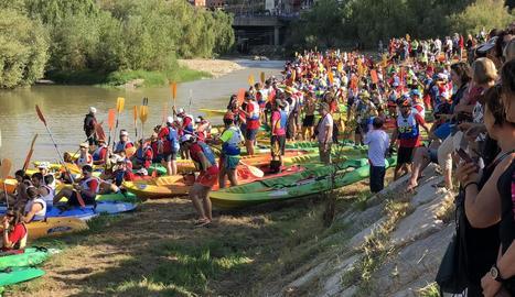El riu Cinca, al seu pas per Fraga, on es farà el nou canal.