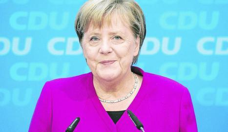 La cancellera alemanya, ahir en una inusual compareixença.