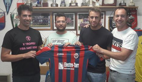 Pep Boté, Richi Merino, Edu Berrocal i Xavier Olivé, ahir durant la presentació del tècnic.