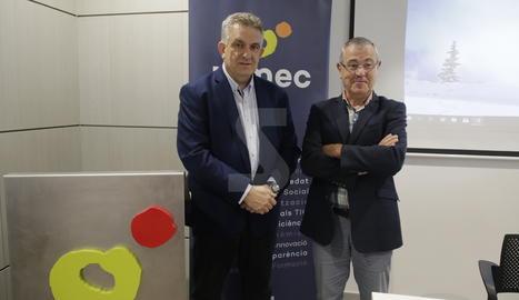 El president de PIMEC Lleida, Jaume Saltó, i del director de l'Observatori de PIMEC, Modest Guinjoan.