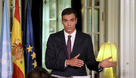 El president del Govern espanyol, ahir a la roda de premsa.