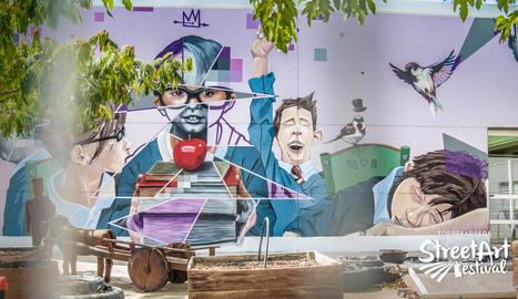 Mural de 60 metres quadrats a l'escola La Creu, premi del públic a l'Street Art Festival.