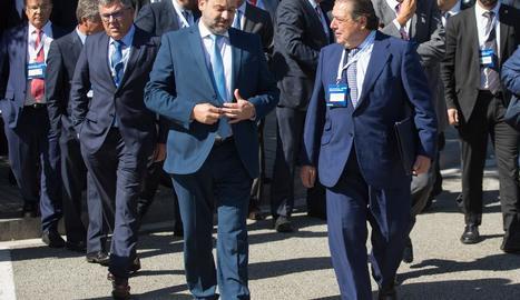 El ministre Ábalos i el president de l'AVE, Vicente Boluda, ahir.