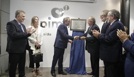 Jaume Saltó, Àngels Chacón, Quim Torra, Josep González, Fèlix Larrosa i Joan Reñé, ahir a Pimec.