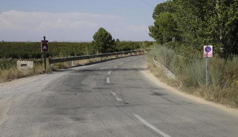 Vista del camí de Torres de Segre a Utxesa, on ahir es va produir l'accident mortal.