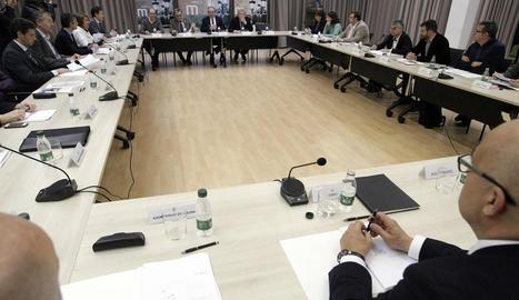 Imatge d'arxiu d'una reunió a Lleida sobre el Corredor.