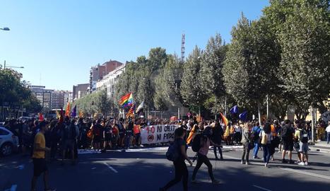 Inici de la manifestació d'estudiants a la rambla d'Aragó