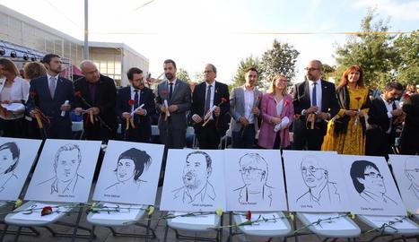 Quim Torra, amb els membres del seu Govern en l'acte institucional de Sant Julià de Ramis.
