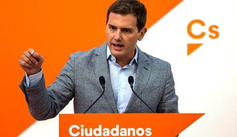El líder de Ciutadans, Albert Rivera, ahir a la seu de la formació taronja a Madrid.
