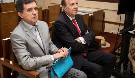L'expresident balear Jaume Matas i el seu exconseller d'Interior José María Rodríguez, ahir.