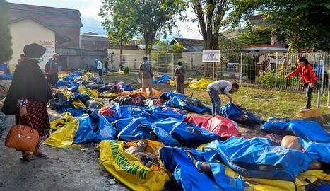 Diverses persones busquen els seus familiars entre les víctimes en una comissaria a Palu, Indonèsia.