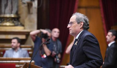 """El president Torra va ser taxatiu en el seu discurs al Parlament advertint Pedro Sánchez que """"la solució no és un nou Estatut""""."""