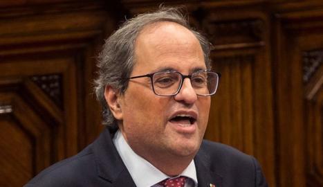 El president de la Generalitat, Quim Torra, ahir, al Parlament.