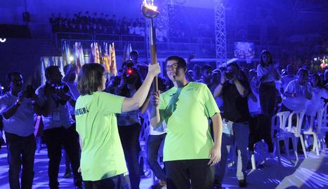 Un moment de la cerimònia inaugural, que es va celebrar ahir al pavelló d'Andorra la Vella, totalment ple de públic.
