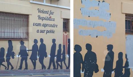 Esborren a Alguaire un mural de tribut al referèndum de l'1-O