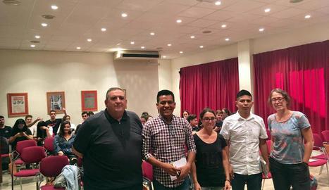 Nava i Morales (al centre, flanquejats pels organitzadors), ahir al Rectorat de la UdL.