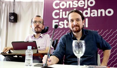 Echenique i Iglesias, ahir davant dels fotògrafs.