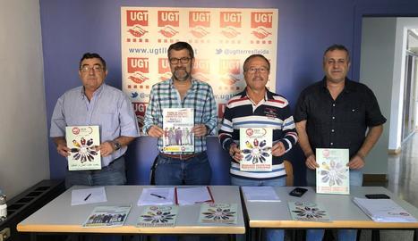 Un moment de la presentació de la campanya d'UGT ahir.